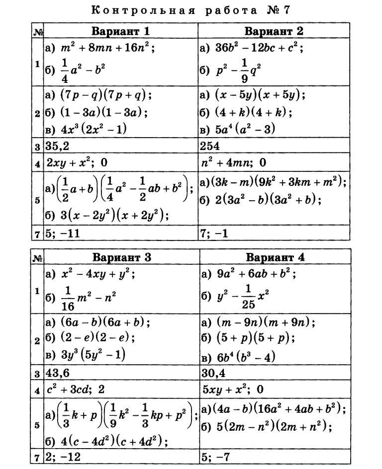 контрольные работы 6 кл математика фгос