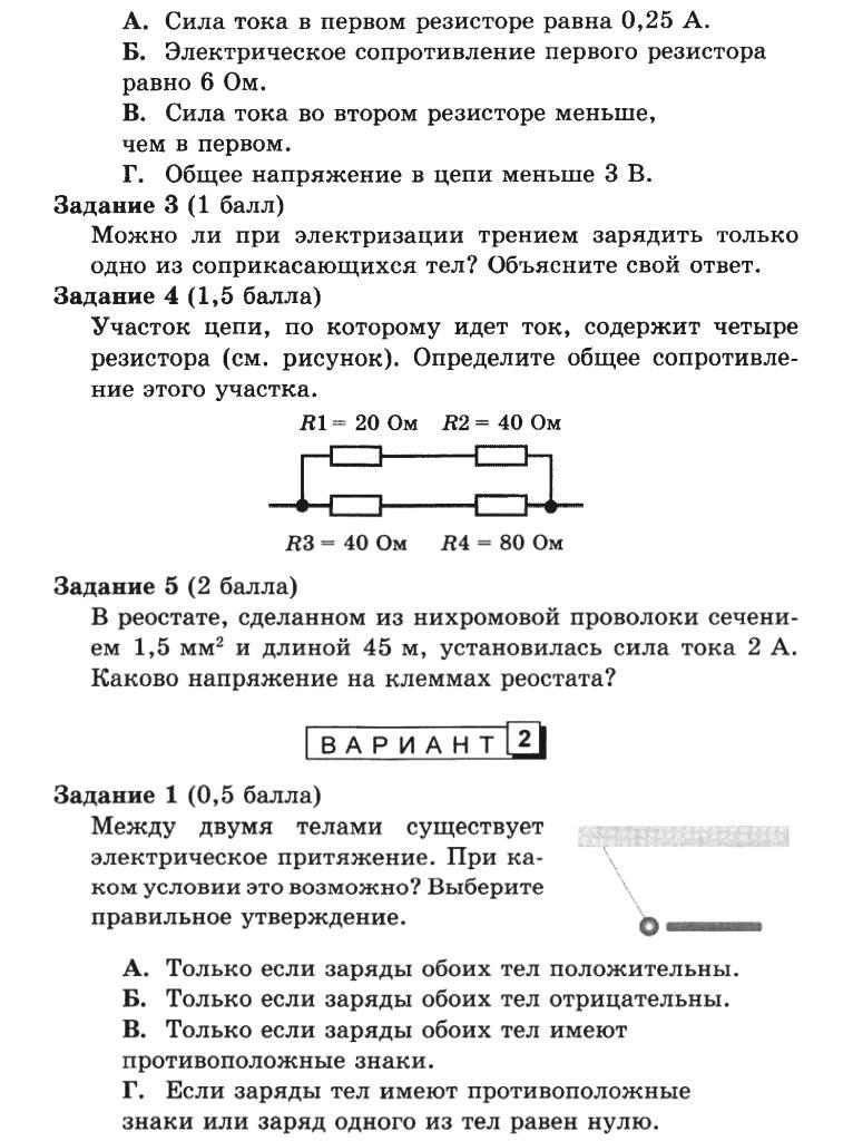 Физика 8 класс Разноуровневые самостоятельные и