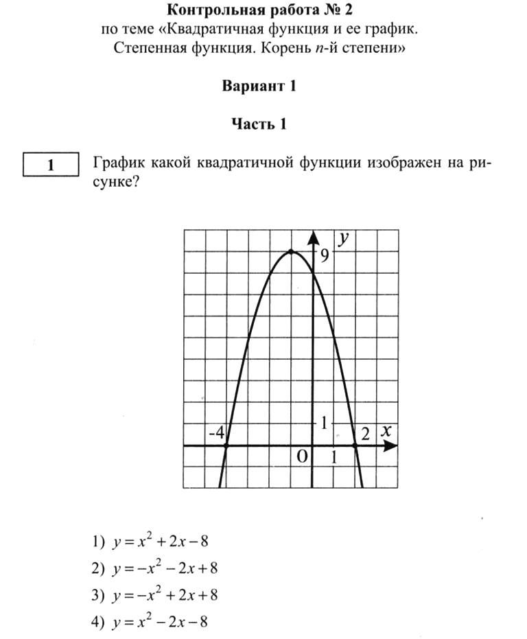 Контрольная работа 2 степенная функция вариант 1 5269